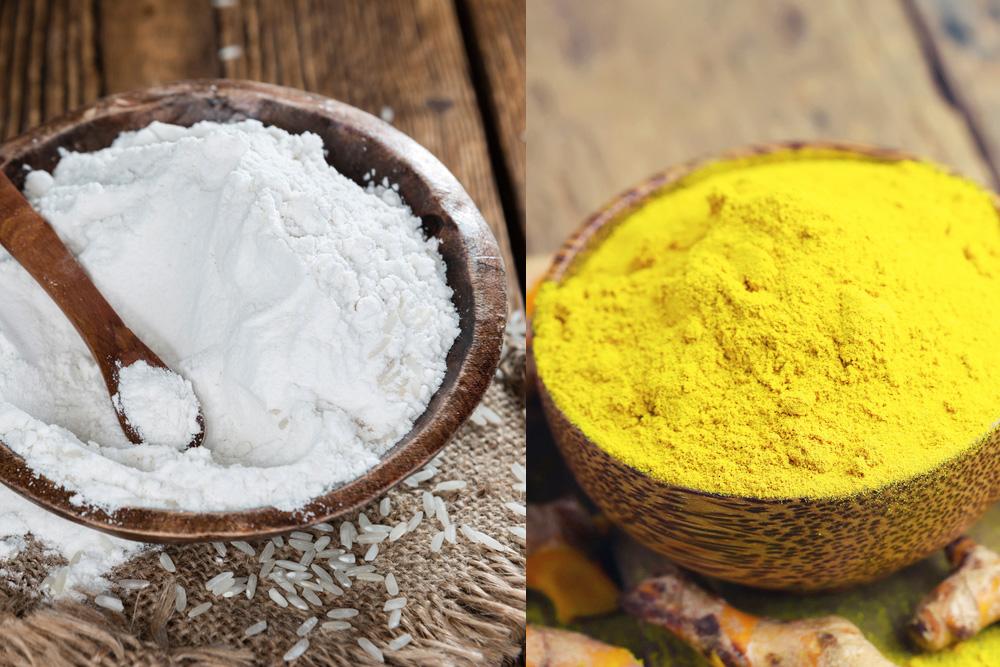 Tinh bột nghệ nguyên chất và bột cám gạo là bộ đôi nguyên liệu trị nám, tàn nhang hoàn hảo
