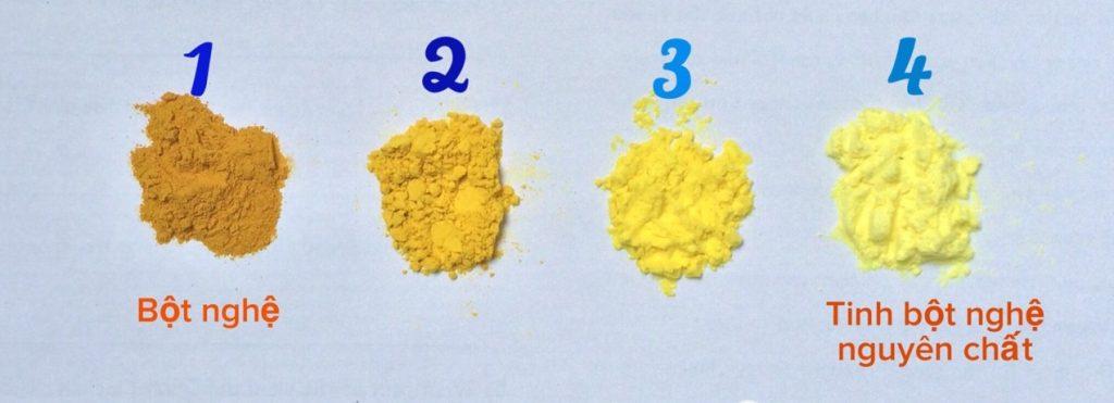 Cách nhận diện tinh bột nghệ với bột nghệ thường và bột nghệ pha tạp chất đơn giản nhất là nhìn vào màu sắc