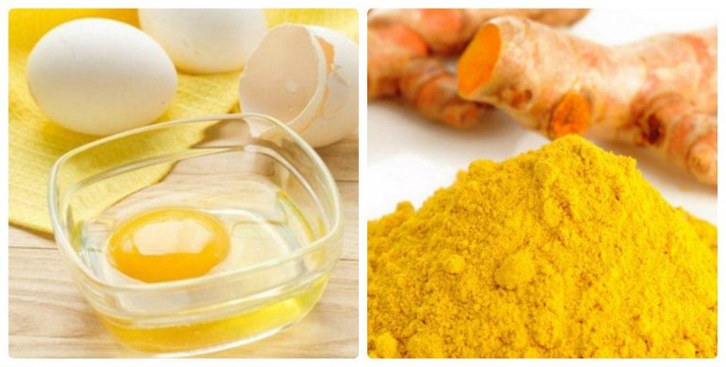 Xóa nhăn, dưỡng ẩm cho da khô bằng lòng đỏ trứng gà và tinh bột nghệ
