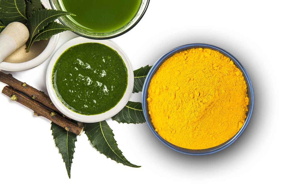 Mặt nạ tinh bột nghệ với lá neem giúp chị em xóa vết thâm một cách đơn giản